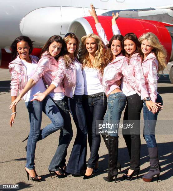 Models Selita Ebanks Adriana Lima Alessandra Ambrosio Heidi Klum Izabel Goulart and Marisa Miller arrive at 'Victoria's Secret Fashion Show Heads To...