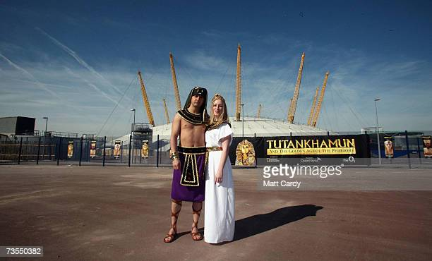 Models Shaeran Thomas and Alexander Tavares pose for pictures as the National Geographic Society announces Tutankhamun treasures are to return to the...