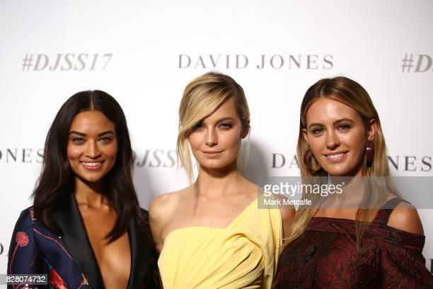Models Shanina Shaik Bridget Malcolm and Jesinta Franklin arrive ahead of the David Jones Spring Summer 2017 Collections Launch at David Jones...