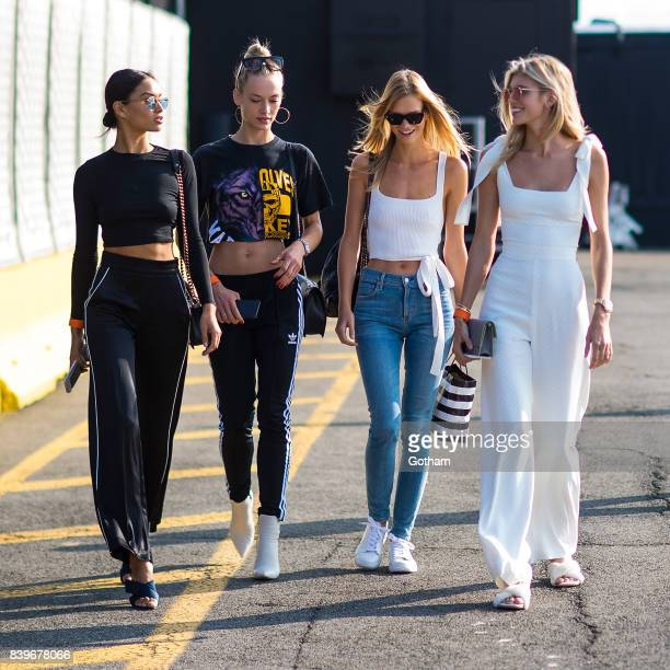Models Shanina Shaik Hannah Ferguson Nadine Leopold and Devon Windsor are seen in Chelsea on August 26 2017 in New York City