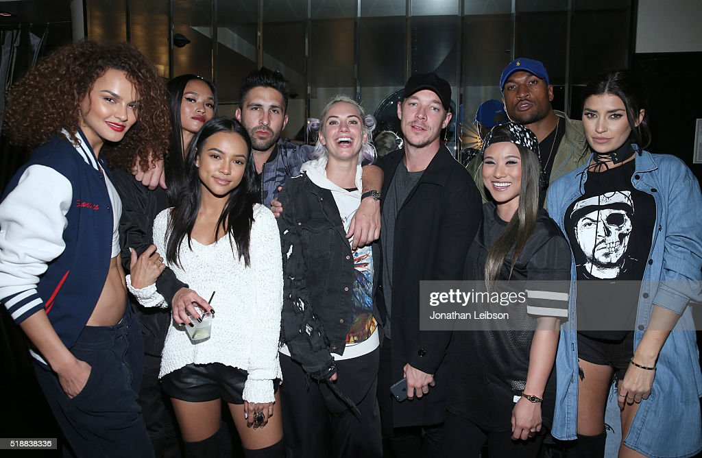 Models Sharina Gutierrez and Karrueche Tran Founder of STAMPD Chris Stamp Julz Diplon football player Larry English and guests attend STAMPD x PUMA...