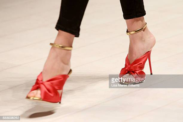 Models shoe detail rehearse ahead of the Oscar de la Renta show presented by Etihad Airways at MercedesBenz Fashion Week Resort 17 Collections at...