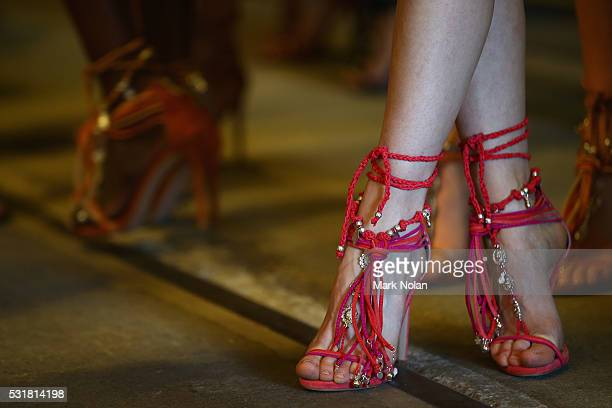 A models shoes are seen as she prepares backstage ahead of the Bec Bridge show at MercedesBenz Fashion Week Resort 17 Collections at Carriageworks on...