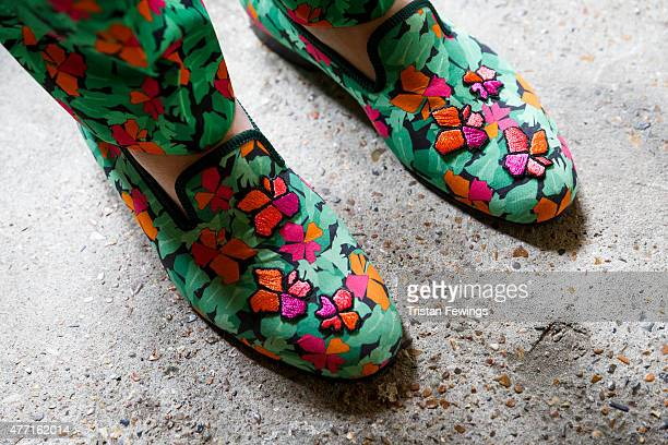 A model's shoes backstage at the Richard James show during The London Collections Men SS16 at the ICA car park on June 14 2015 in London England