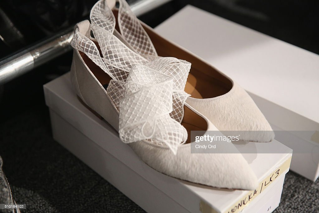 Models shoes backstage at the Tome Fall 2016 fashion show during New York Fashion Week: The Shows at The Dock, Skylight at Moynihan Station on February 14, 2016 in New York City.