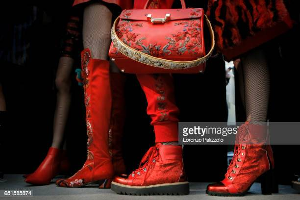 Models shoes detail are seen backstage before the Shiatzy Chen show as part of the Paris Fashion Week Womenswear Fall/Winter 2017/2018 on March 7...