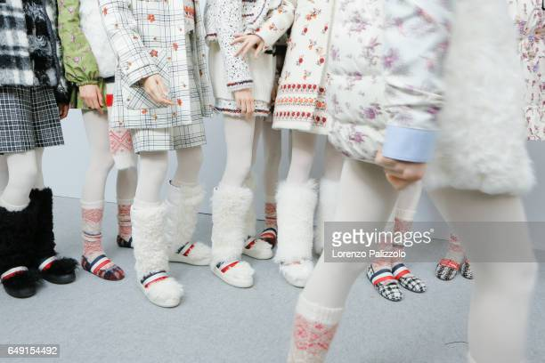 Models shoes details are seen backstage before the Moncler Gamme Rouge show as part of the Paris Fashion Week Womenswear Fall/Winter 2017/2018 on...