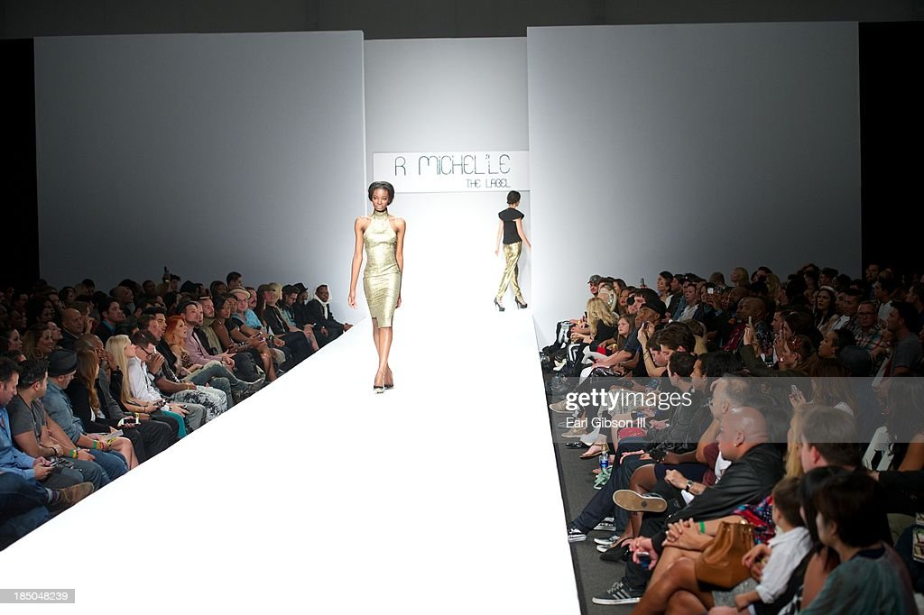 Models show the Spring/Summer Collection of R.Michel'le The Label by Rachael Broussard during LA Fashion Week on October 17, 2013 in Los Angeles, California.