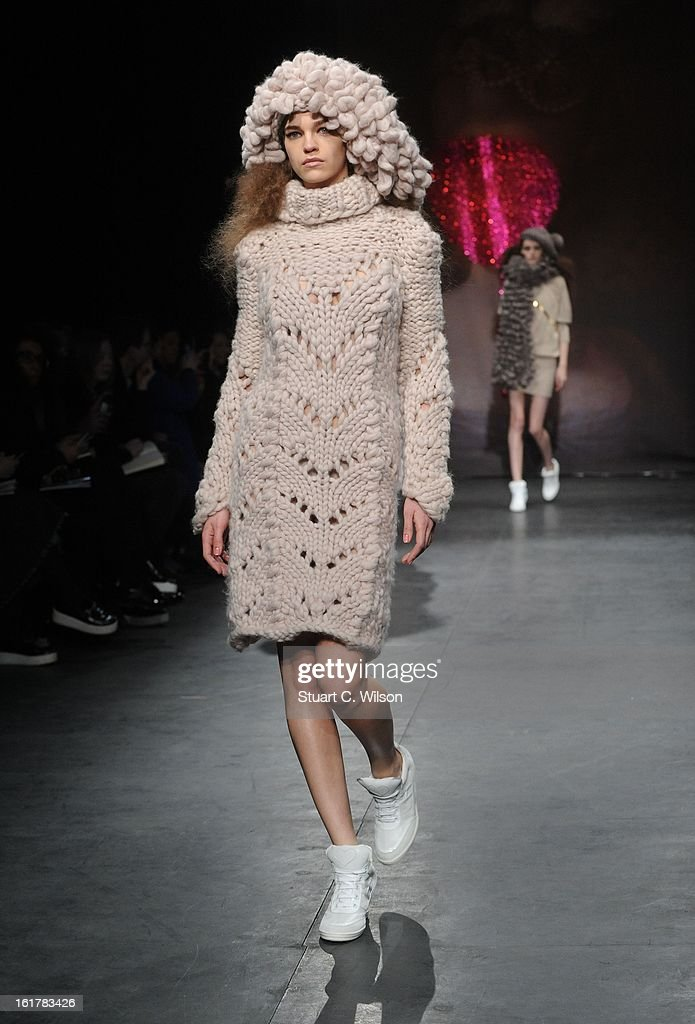 Models showcase designs at the Sister by Sibling presentation during London Fashion Week Fall/Winter 2013/14 at ICA on February 16, 2013 in London, England.