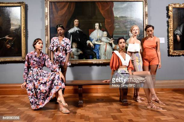 Models showcase designs at the Tata Naka presentation during London Fashion Week September 2017 on September 19 2017 in London England