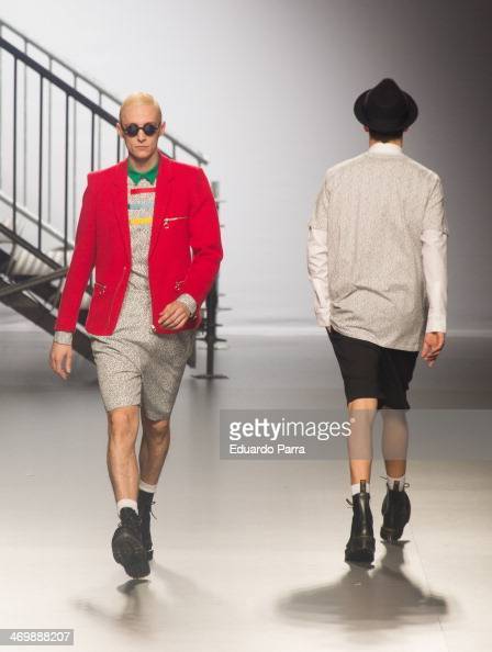 Models showcase designs by David delfin on the runway at Davidelfin show during Mercedes Benz Fashion Week Madrid Fall/Winter 2014 at Ifema on...