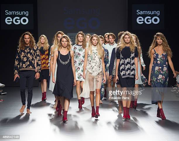 Models showcase designs by Elena Rial on the runway at the Elena Rial show during MercedesBenz Fashion Week Madrid Spring/Summer 2015/16 at Ifema on...