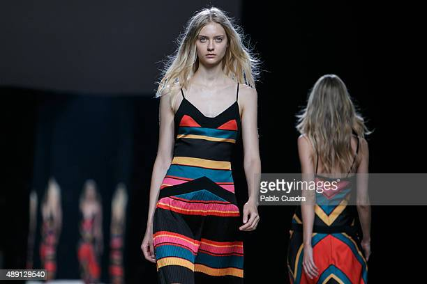 Models showcase designs by Juanjo Oliva on the runway at the Juanjo Oliva show during MercedesBenz Fashion Week Madrid Spring/Summer 2016 at Ifema on...