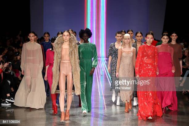 Models showcase designs by Kate Sylvester on the runway at New Zealand Fashion Week 2017 on August 31 2017 in Auckland New Zealand