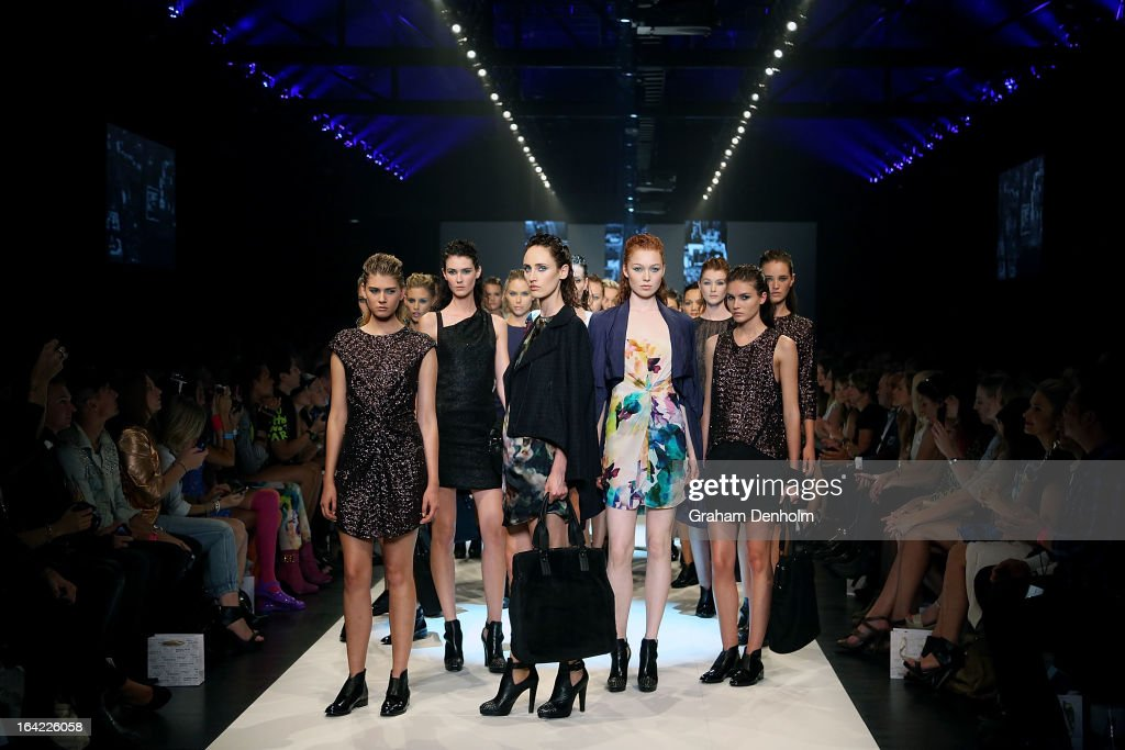 Models showcase designs by LIFEwithBIRD on the runway at the L'Oreal Paris Runway 3 show during day four of L'Oreal Melbourne Fashion Festival on March 21, 2013 in Melbourne, Australia.