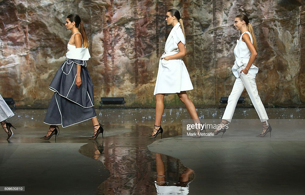 Models showcase designs by Maticevski on the runway at the Myer AW16 Fashion Launch on February 11, 2016 in Sydney, Australia.