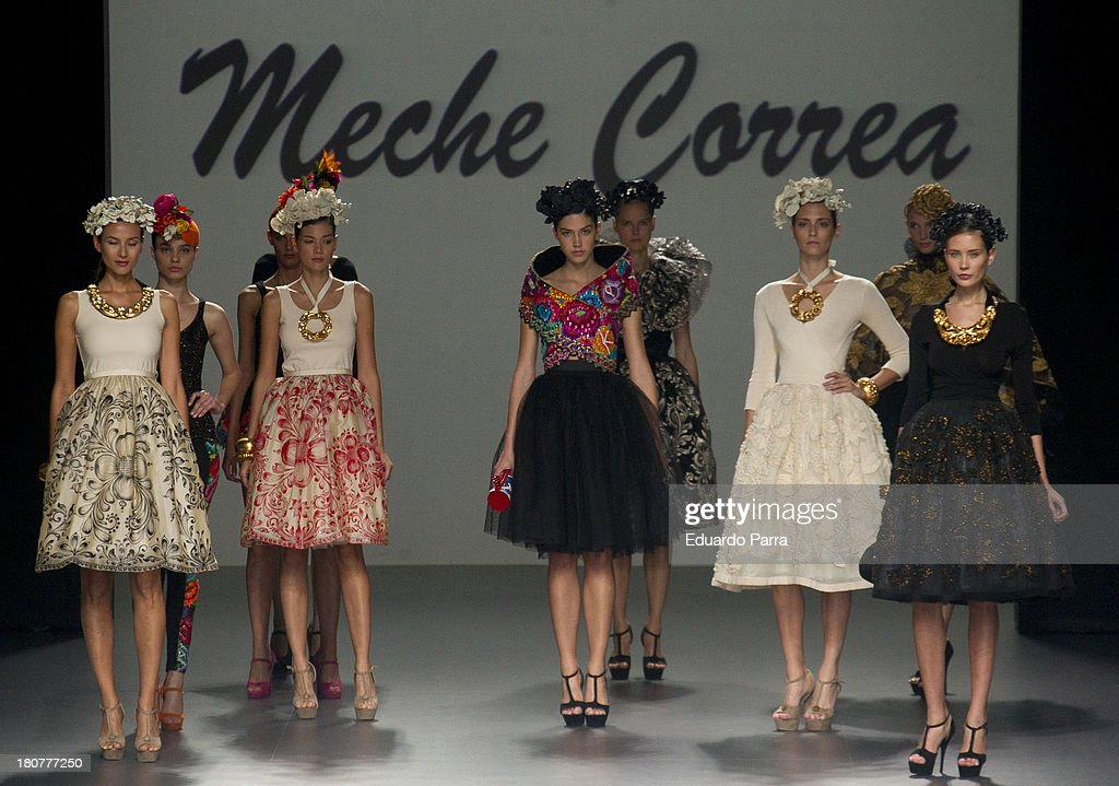 Models showcase designs by Merche Correa on the runway at Merche Correa show during Mercedes Benz Fashion Week Madrid Spring/Summer 2014 at Ifema on September 16, 2013 in Madrid, Spain.