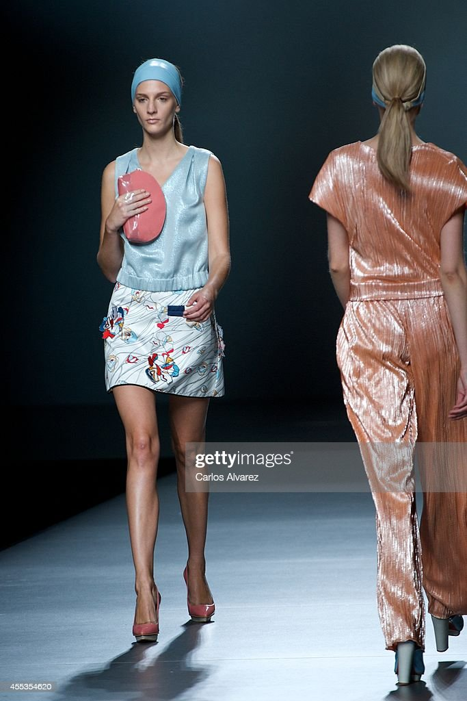 Models showcase designs by Moises Nieto on the runway at Moises Nieto show during Mercedes Benz Fashion Week Madrid Spring/Summer 2015 at Ifema on...