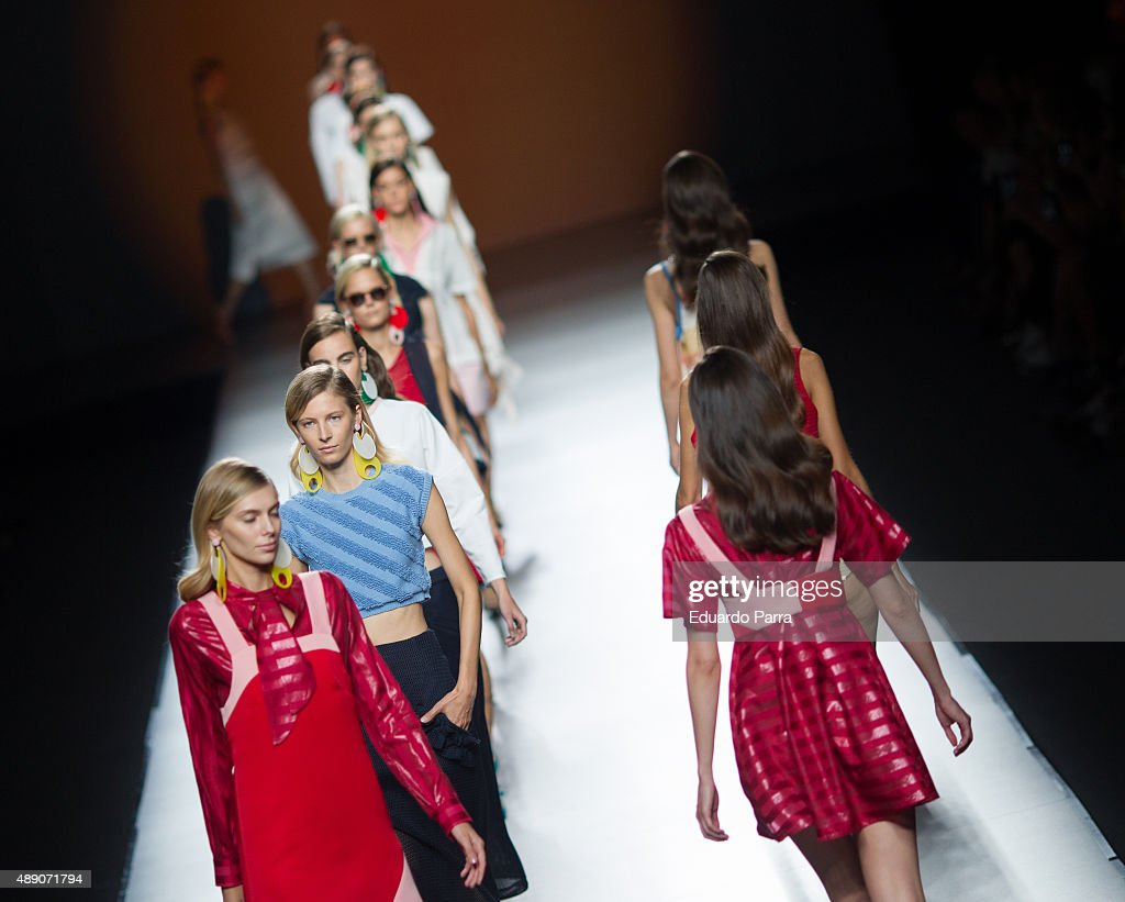 Models showcase designs by Moises Nieto on the runway at the Moises Nieto show during MercedesBenz Fashion Week Madrid Spring/Summer 2015/16 at Ifema...