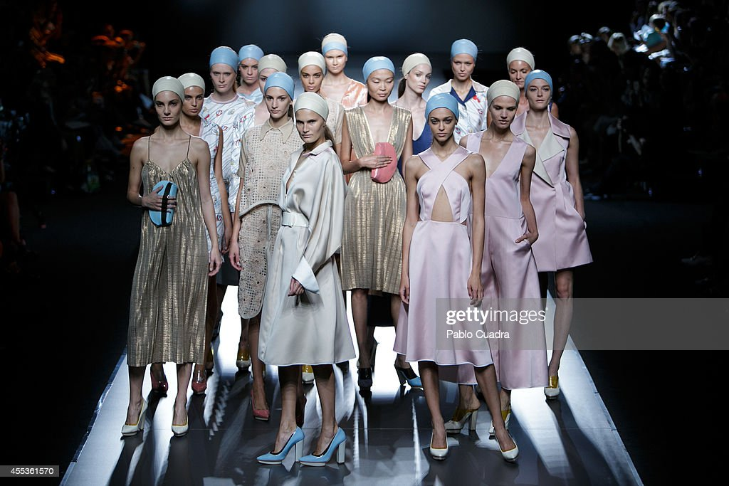 Models showcase designs by Moises Nieto on the runway during Mercedes Benz Fashion Week Madrid Spring/Summer 2015 at Ifema on September 13 2014 in...