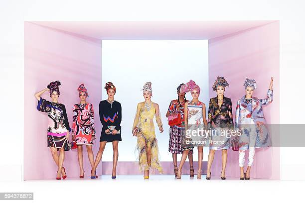 Models showcase designs by Pucci during the Myer Spring 16 Fashion Launch at Hordern Pavilion on August 23 2016 in Sydney Australia