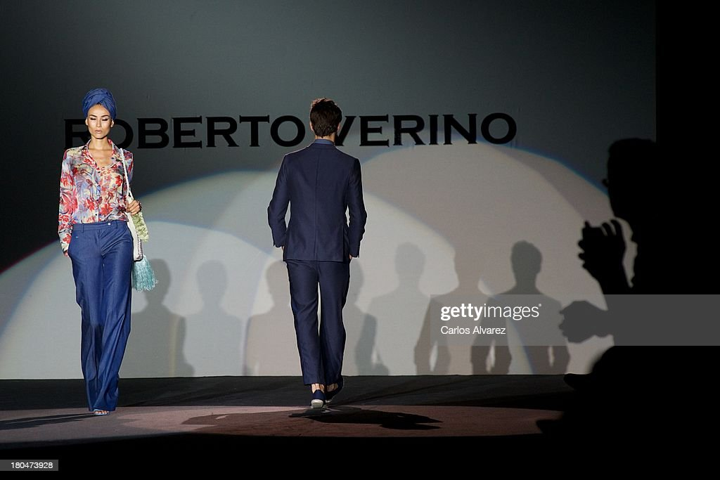 Models showcase designs by Roberto Verino on the runway at Roberto Verino show during Mercedes Benz Fashion Week Madrid Spring/Summer 2014 at Ifema on September 13, 2013 in Madrid, Spain.