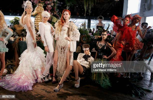 Models showcase designs by Romance Was Born on the catwalk offsite at The Wharf Restaurant at the Sydney Theatre Company on day four of Rosemount...