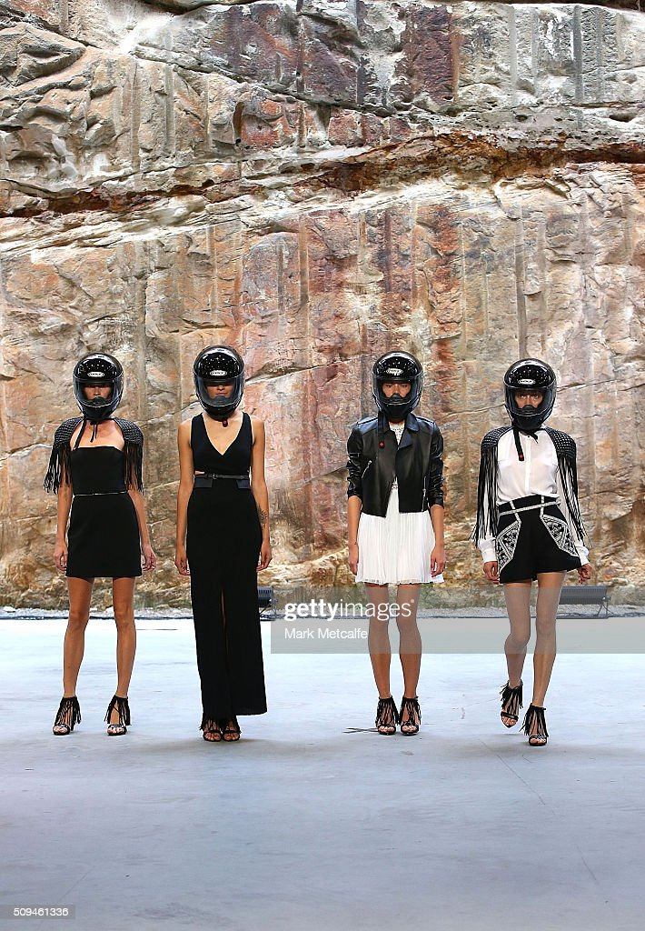 Models showcase designs by sass & bide during rehearsal ahead of the Myer AW16 Fashion Launch on February 11, 2016 in Sydney, Australia.