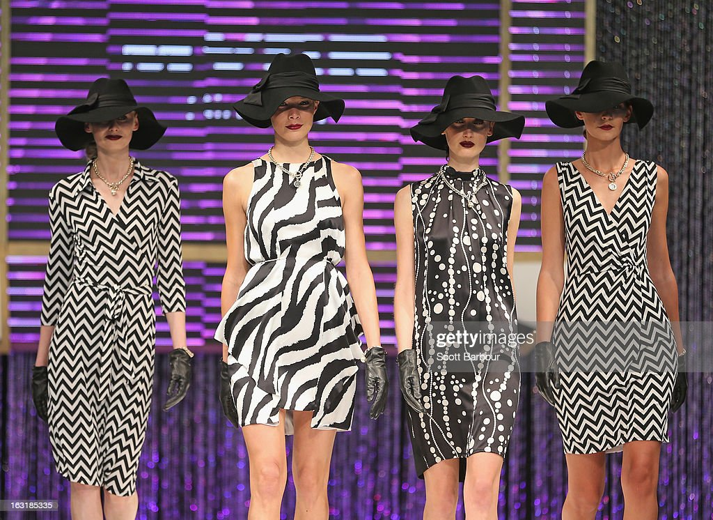 Models showcase designs by Simona during Flemington's Beautiful Girls Fashion Lunch on March 6, 2013 in Melbourne, Australia.