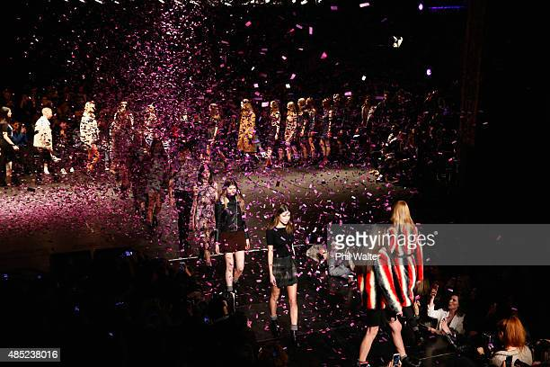 Models showcase designs by Stolen Girlfriends Club show at the St James Theatre during New Zealand Fashion Week 2015 on August 26 2015 in Auckland...