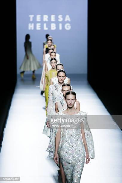 Models showcase designs by Teresa Helbig on the runway at the Teresa Helbig show during MercedesBenz Fashion Week Madrid Spring/Summer 2016 at Ifema...