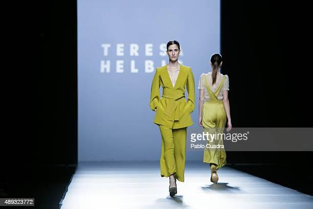Models showcase designs by Teresa Helbig on the runway at the Teresa Helbig show during MercedesBenz Fashion Week Madrid Spring/Summer 2016 at Ifema...