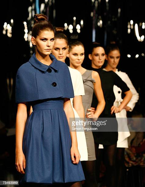Models showcase designs by Yeojin Bae at the Myer Winter 07 Fashion Launch as part of L'Oreal Melbourne Fashion Festival 2007 at the MYER Mural Hall...