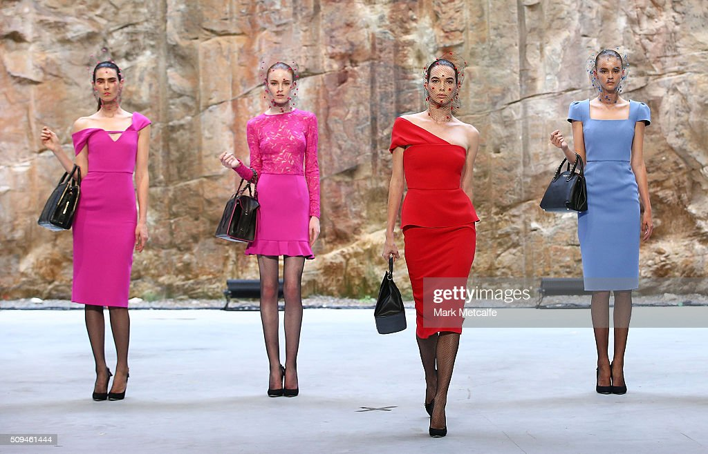 Models showcase designs by Yeojin Bae during rehearsal ahead of the Myer AW16 Fashion Launch on February 11, 2016 in Sydney, Australia.