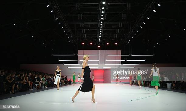 Models showcase designs by Yeojin Bae during the Myer Spring 16 Launch at Hordern Pavilion on August 23 2016 in Sydney Australia