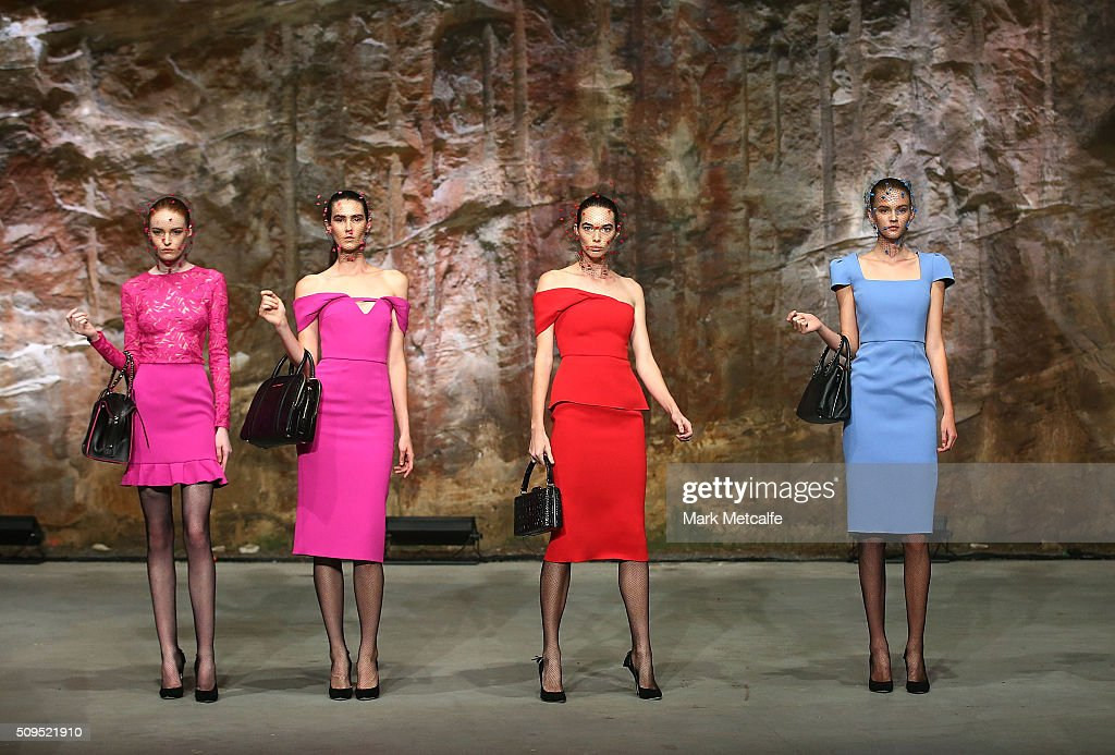 Models showcase designs by Yeojin Bae on the runway at the Myer AW16 Fashion Launch on February 11, 2016 in Sydney, Australia.