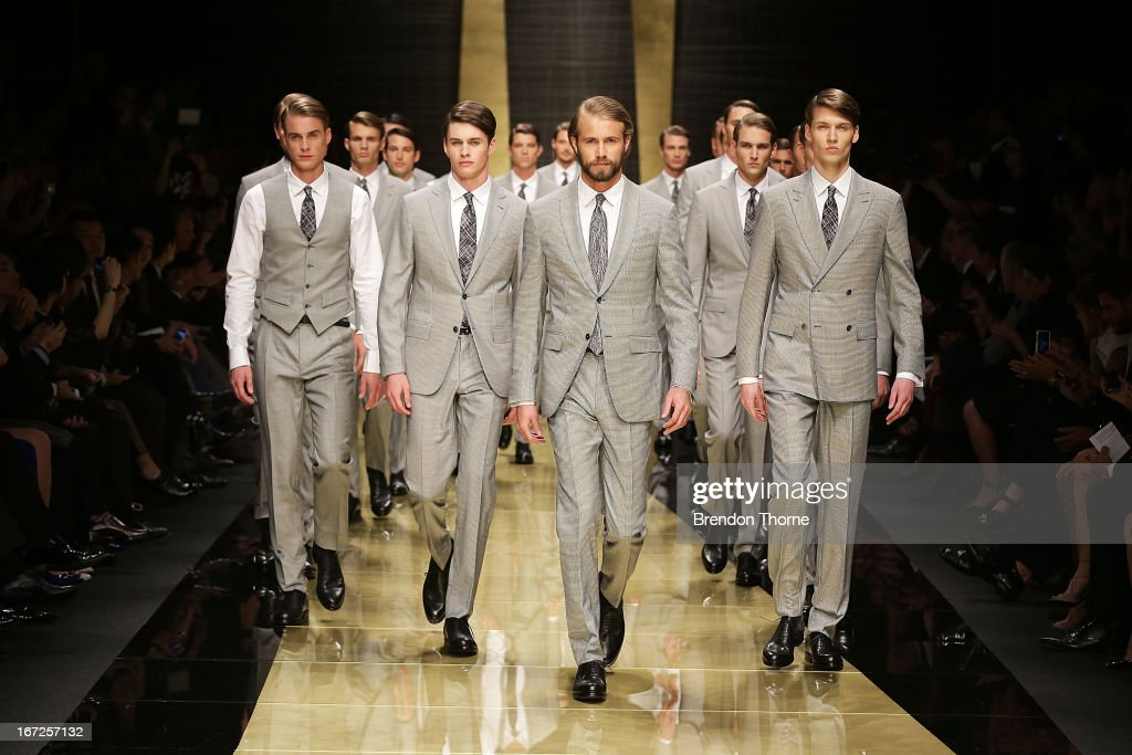 Models showcase designs by Zegna during the 50th Anniversary Wool Awards at the Royal Hall of Industries, Moore Park on April 23, 2013 in Sydney, Australia.