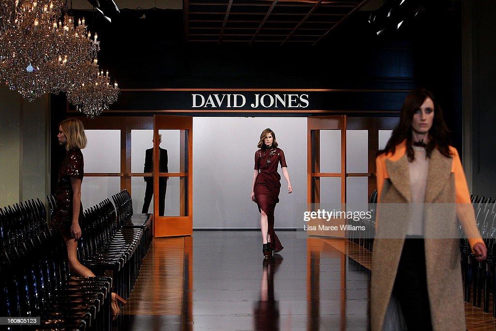Models showcase designs during rehearsal ahead of the David Jones A/W 2013 Season Launch at David Jones Castlereagh Street on February 6, 2013 in Sydney, Australia.