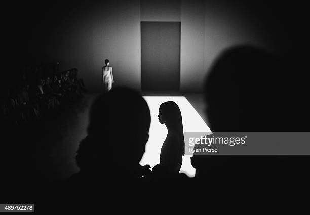 Models showcase designs during the Bianca Spender show at MercedesBenz Fashion Week Australia 2015 at Carriageworks on April 15 2015 in Sydney...