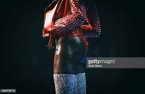Models showcase designs during the Di$count Universe show during MercedesBenz Fashion Week Australia at Carriageworks on May 18 2016 in Sydney New...
