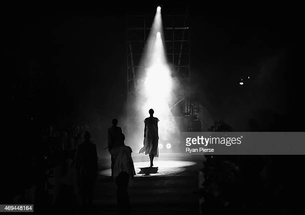 Models showcase designs during the Ellery show at MercedesBenz Fashion Week Australia 2015 at Carriageworks on April 12 2015 in Sydney Australia