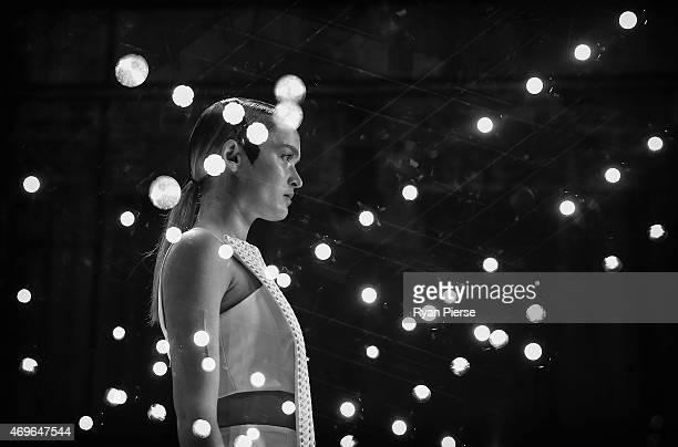 Models showcase designs during the Haryono Setiadi Show at MercedesBenz Fashion Week Australia 2015 at Carriageworks on April 14 2015 in Sydney...