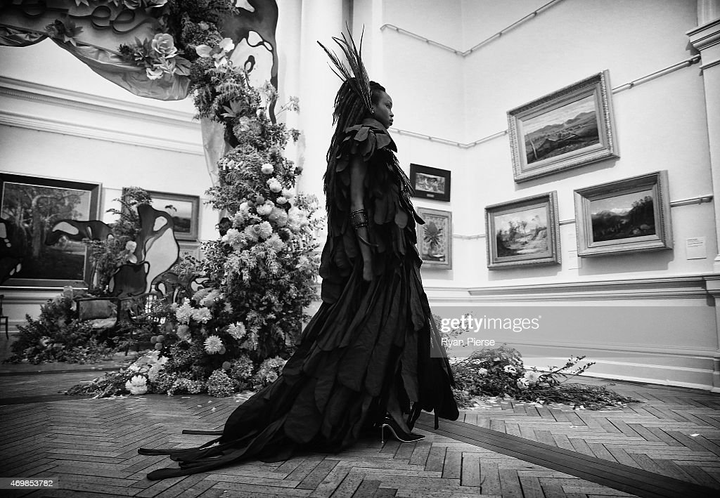 Models showcase designs during the Romance was Born show during MercedesBenz Fashion Week Australia 2015 at Art Gallery of New South Wales on April...