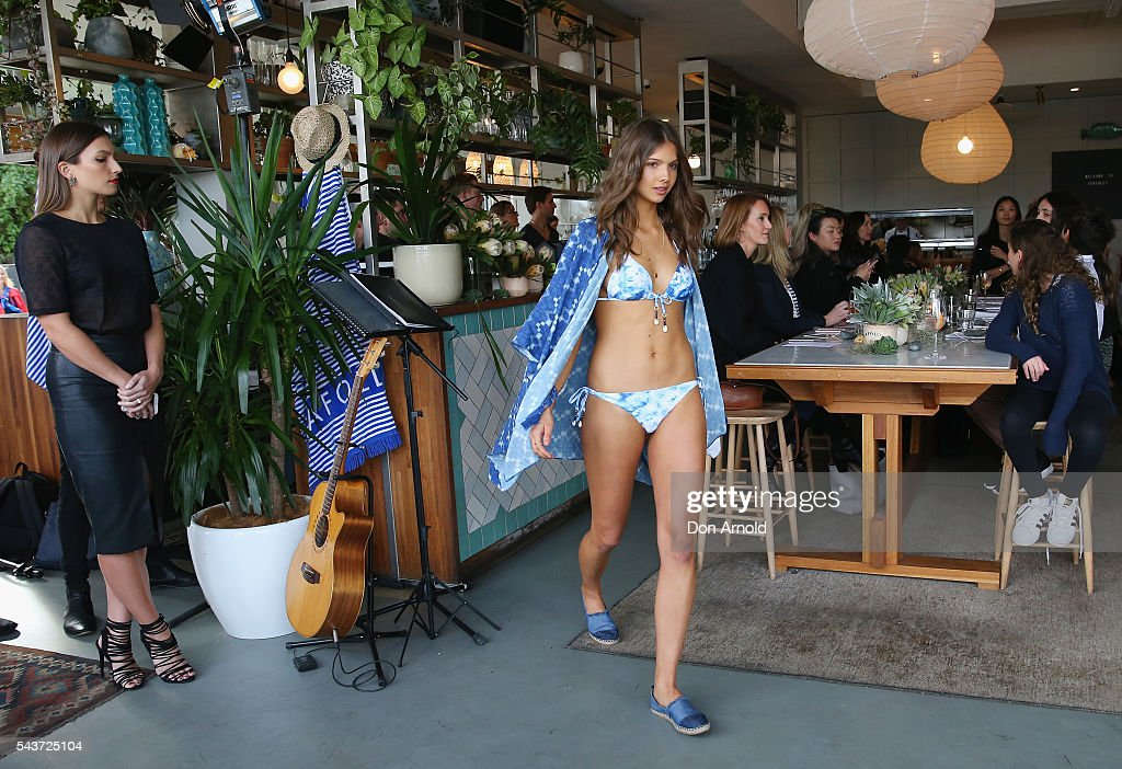 Models showcase designs during the Seafolly Spring 2016 Campaign Launch at North Bondi Fish on June 30, 2016 in Sydney, Australia.