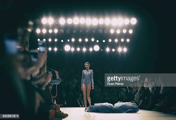 Models showcase designs during the Swim show during MercedesBenz Fashion Week Australia at Carriageworks on May 19 2016 in Sydney New South Wales