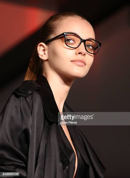 Models showcase designs from the Kylie Minogue eyewear collection for Specsavers at the Establishment Ballroom on March 7 2017 in Sydney Australia
