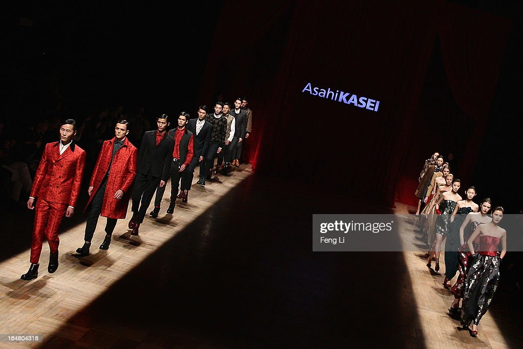 Models showcase designs on the catwalk during Asahi Kasei Chinese Fashion Designer Creativity Award Wang Yutao Collection on the fifth day of Mercedes-Benz China Fashion Week Autumn/Winter 2013/2014 at Banquet Hall of Beijing Hotel on March 28, 2013 in Beijing, China.