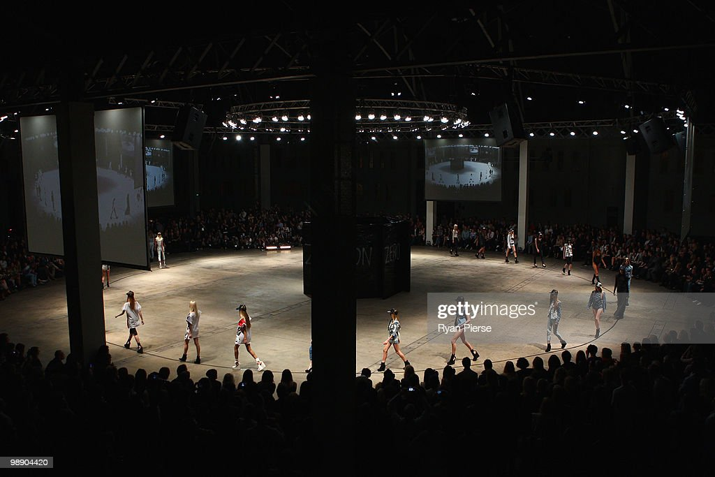 Models showcase designs on the catwalk during the Ksubi collection show closing the fifth and final day of Rosemount Australian Fashion Week...