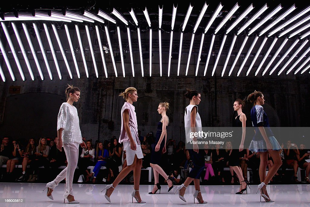 Models showcase designs on the runway at the Bec and Bridge show during Mercedes-Benz Fashion Week Australia Spring/Summer 2013/14 at Carriageworks on April 8, 2013 in Sydney, Australia.