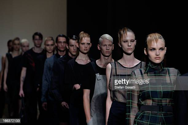 Models showcase designs on the runway at the Zambesi show during MercedesBenz Fashion Week Australia Spring/Summer 2013/14 at Carriageworks on April...